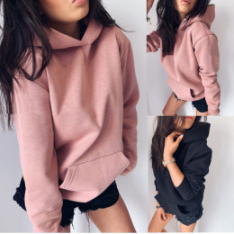 2020 Hot sale new style long-sleeved solid color hooded sweater for fall/winter women