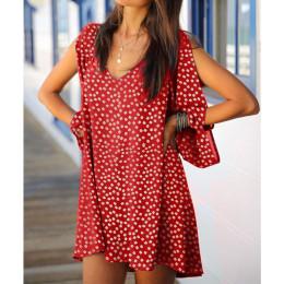 V-neck floral broken sleeve long sleeve dress women