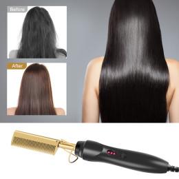 Hot Comb Hair Straightener Flat Irons Electric Hair Curling Iron Titanium Alloy Hair Curler Brush Environmentally Friendly