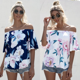 FLOWER PRINTED OFF SHOULDER T-SHIRT