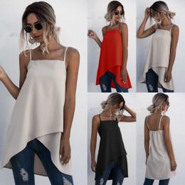 Summer ladies shirt Solid color elegant Retro Strap Cross Irregular Vest Top blouse Shirt