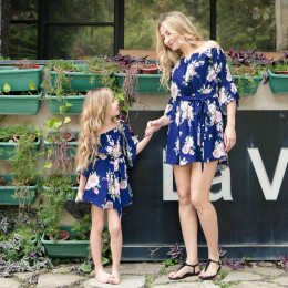 Mother And Daughter Dresses Flower Print Spring Matching Family Look Mother Girl Clothes