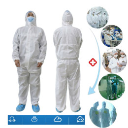 White Coverall Hazmat Suit Protection Protective Disposable Anti-Virus Clothing