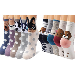 Five Pairs of Women's Dog Socks
