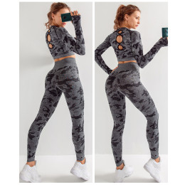 Women Yoga Sets Long Sleeve Shirt + Seamless Leggings Pants Camo Tracksuit Sports Wear Jogging Sportwear Sportd Suits