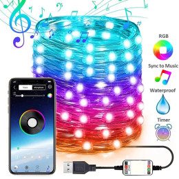2021 Christmas Tree Decoration Lights Custom LED String Lights App Remote Control Light In Stock For Christmas with USB