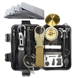 Survival kit, outdoor travel military set, camping mini tools, emergency aid kit, multifunction, survival, bracelet, whistle, blanket, knife