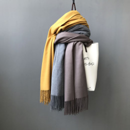 Women Solid Color Cashmere Scarves With Tassel Lady Winter Autumn Long Scarf Thinker Warm Female Shawl Unisex