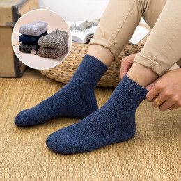 Winter Men's Super Thick Warm High Quality Harajuku Retro Snow Casual Antifreeze Wool Socks 5 Pair