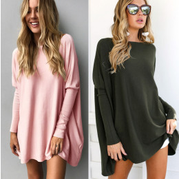 Batwing shirt loose sleeve T shirt color long sleeves casual shirts big size tops