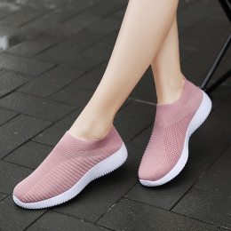Woman plus size casual shoes elastic fabric socks shoes woman fashion slip on breathable soft flat walking shoes sneakers