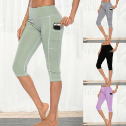 Sieving Women Workout Capri Pants Leggings Side Pocket High Waist Running Yoga Pants Slim Fitness Quick Dry Casual Elastic Leggings