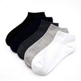 100% cotton male casual socks simple black gray white daily ankle socks soft breathable spring summer autumn sport short socks