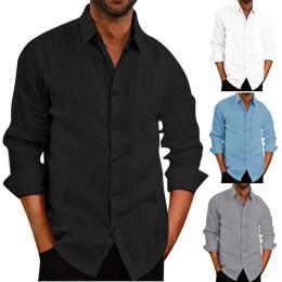 Summer/Autumn linen long sleeve shirt male casual shirt blouse