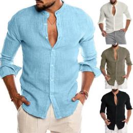 Men's Casual Blouse Cotton Loose Linen Shirt Tops Spring Summer Autumn Handsome Casual Men Shirt