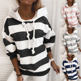 Striped Tape Colorblock Hooded Sweatshirt