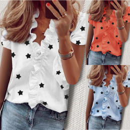 Summer Short Sleeve Slim Fit Women Blouses Sexy Tops V Neckline