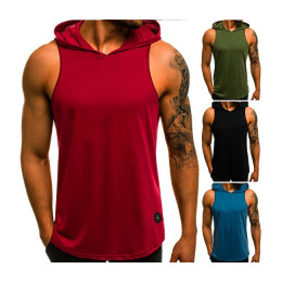 Summer Sleeveless Hoodie Fashion Solid Color Pattern Print Hoodie Men Casual Hip Hop Sport Hoodie Pullover Tops