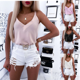 Summer Solid Color Sleeveless V-Neck Ladies Loose Top