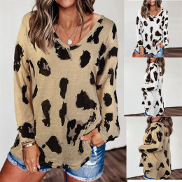 Women's Leopard Print T Shirt V Neck Fashion Casual Long Sleeve Loose Tops Blouse