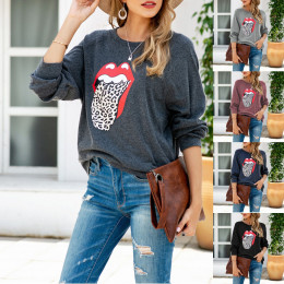 Lip print loose sweatshirt long sleeve T-shirt for women