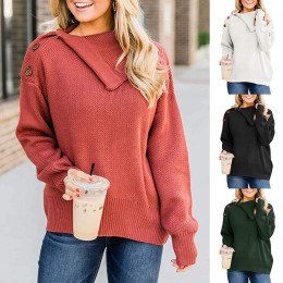 Women's Casual Buckle Braided Solid Colored Pullover Long Sleeve Sweater Cardigans Shirt Collar Fall Winter