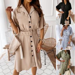 Elegant Button Blazer Dress Women Solid Casual High Waist Belt Short Sleeve Dress Office Ladies Workwear