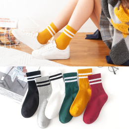 5 pairs female socks autumn winter female sports fashion cotton blend socks female socks casual all matches classic