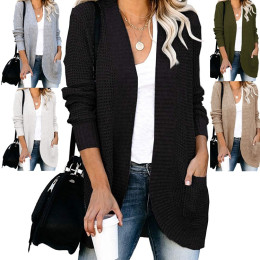 Open Front Loose Cardigan for Women Lightweight Casual Long Sleeve Knitted Sweater with Pockets for Autumn Winter