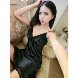 Summer real silk pajamas sexy tempatation deep v straps skirts women Lace edge Nightwear Sexy nightgown