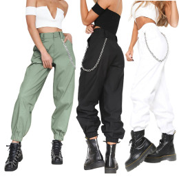Women Cargo Pants Slacks Casual Harem Baggy Hip Hop Dance Outdoor Jogging Sweatpants Trousers with Chain