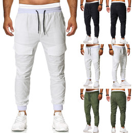 Sports Long Pants Solid Pockets Straight Men's Pants for Male