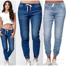 Casual Running Pants Elastic Sexy Skinny Pencil Jeans For Women Leggings High Waist Jeans Drawstring Jeans