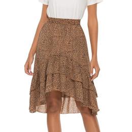 Women Bohemian High Waist Pleated A-line Skirts High Low Ruffles Midi Chiffon Skirt with Lining