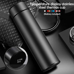 500ml vacuum insulated stainless steel water bottle thermos cup temperature touch screen display drinking cup with battery