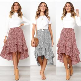 Irregular Patchwork Midi Skirt with Ruffles High Low Skirts for Women