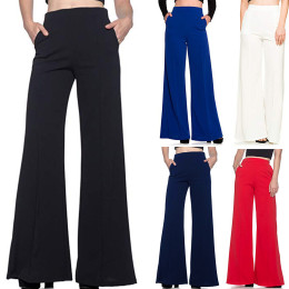 Women's Long Pants, High Waist, Loose Plain & Wide, Long Flowing Palazzo Pants Women's Trousers Work