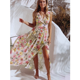 Women Print V Neck Split Maxi Sundress Floral Spaghetti Strap Chiffon Party Elegant Casual Beach Dresses