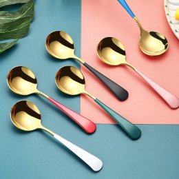 Food grade stainless steel spoon creative small cute spoon for children's meal spoon home soup spoon round spoon