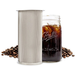 Coffee filter 304 food grade stainless steel cold tea brew coffee maker filter reusable mesh wide mouth mason jar filter