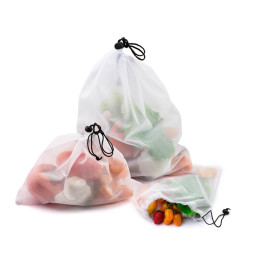 Reusable eco friendly vegetable fruit mesh product bags washable bags for grocery store toys sundries