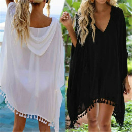 Women's beach dress bikini cover up bathing maxi wrap skirt sarong kimono kaftan summer chiffon tassel hooded batwing sleeve top