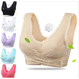 Lace lingerie solid color cross side buckle without rims gathered sports sleep underwear