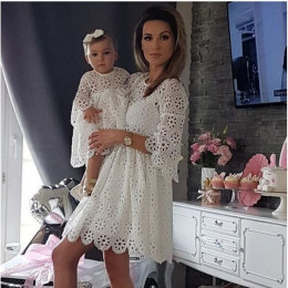 Mother daughter lace dresses mom and girl dress family matching outfits clothes wedding birthday dresses evening