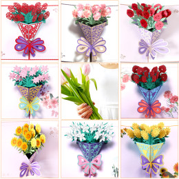3d pop-up postcard valentine flower thank you love happy birthday personalized invitation gifts wedding paper
