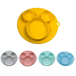 Children silicone bowl sucker bowl baby plate silicone plate baby feeding plate