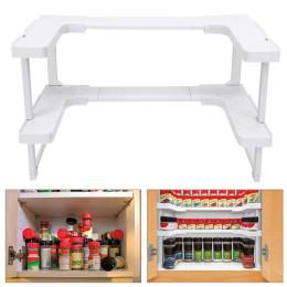2 layers adjustable space rack kitchen bathroom closet organizer stackable storage jar shelf spices dropship