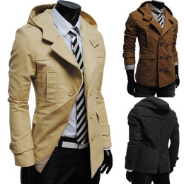Men's Men's Double-Breasted Trench Coat