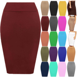 Plain Pencil High Waisted Ladies Stretch Midi Skirt