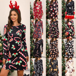 Large Size Dress Casual Printed Cartoon Christmas Dress Autumn Winter Long Sleeve A -line Dress Plus Size Women Clothing
